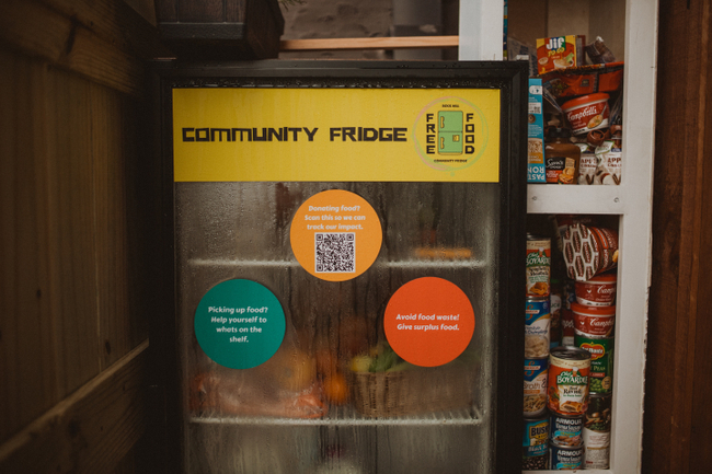 The Rock Hill Community Fridge located outside of The Mercantile at the Warehouses on White.